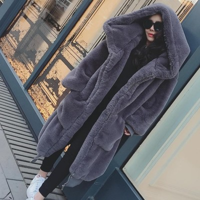 Winter new GIgi with the same model rabbit fur grass long coat thick hooded