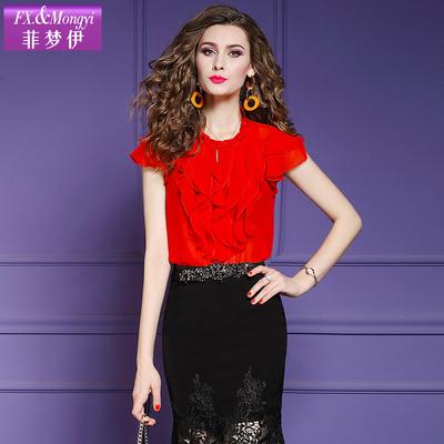 菲梦伊红色雪纺衫女短袖夏装新款洋气时尚荷叶边短款小衫上衣薄款