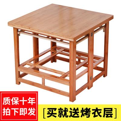 实木烤火架家用可折叠冬季多功能取暖桌子80正方形烤火桌子家用