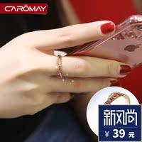 韩国G字交叉食指戒指女镀玫瑰金个性潮指环气质关节小指尾戒饰品