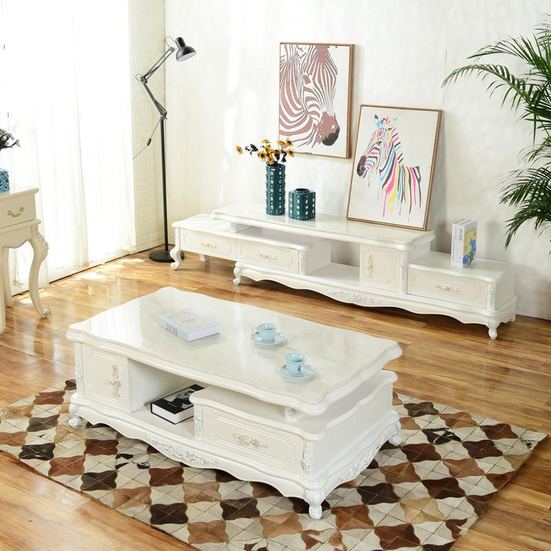 欧式伸缩电视柜茶几组合套简欧客厅电视柜 实木大理石餐桌椅组合