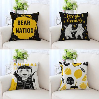 卡通黑黄色波普现代简约北欧抱枕沙发靠枕棉麻样板房汽车靠垫腰枕排行榜