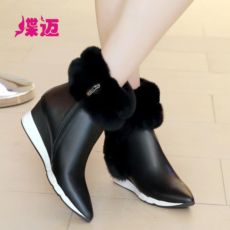 蝶迈尖头短靴坡跟兔毛靴防水台高跟新颖时尚女靴新款头层牛皮真