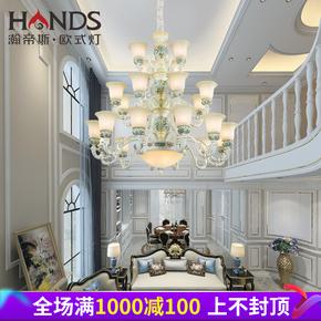 欧式楼中楼客厅别墅复式楼大吊灯奢华双层阁楼三层旋转楼梯吊灯长