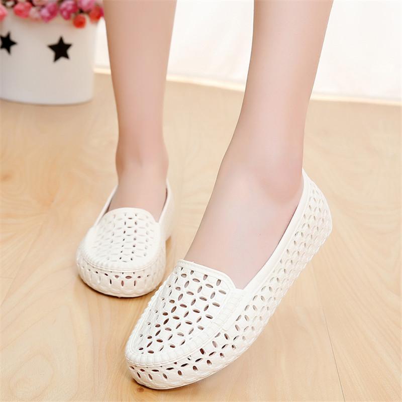 夏季浅口白色塑料凉鞋女 护士工作鞋包头鞋沙滩鞋鸟巢镂空洞洞鞋