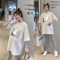 Maternity wear 2019 summer new fashion tide mom loose short-sleeved round neck long section pregnant women T-shirt printed shirt