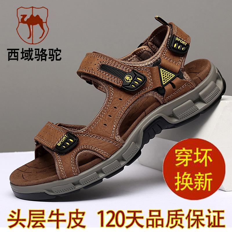 西域骆驼男士凉鞋真皮2019新款夏季男鞋防滑户外沙滩鞋牛皮凉拖鞋