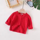 Woman baby knitted cardigan, foreign style baby sweater Korean version Chaozhou spring and autumn 0-1-2 year old cotton kid jacket