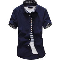 Short Sleeve Shirt Men's Solid Color Floral Korean Casual White Trend Slim Business Youth Men's Shirts Free
