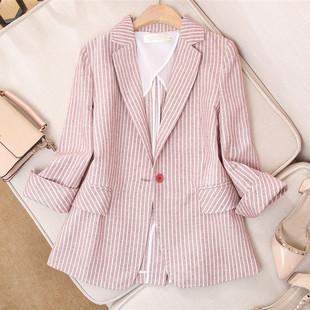 西装外套女2019夏季新款韩版休闲粉色条纹棉麻网红小西装修身薄款