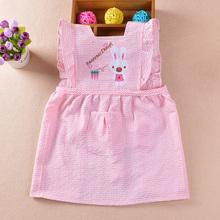 宝宝罩衣夏季泡泡纱无袖公主裙儿童围裙婴儿防水吃饭衣 小孩围兜