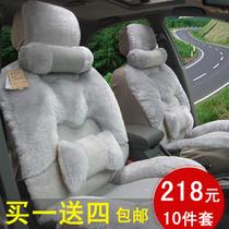 汽车坐垫无靠背夏季三件套单片四季通用亚麻免绑荞麦壳后排车座垫