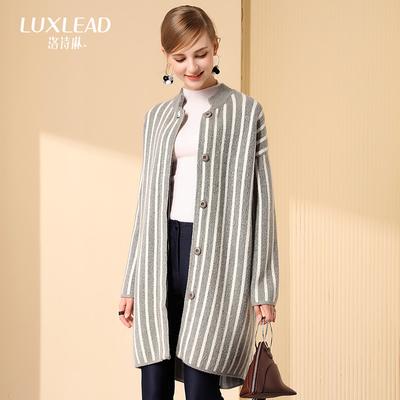 洛诗琳竖条纹毛衣外套女休闲落肩袖开衫中长款外套2017冬季新款