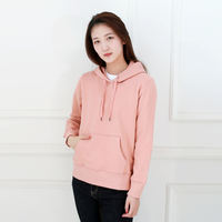 Solid color hooded sweater women's terry hooded hoodies spring and autumn casual sports shirt loose cotton long-sleeved jacket