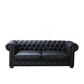 美式乡村复古黑色真皮沙发新古典客厅组合三人四人位头层牛皮沙发
