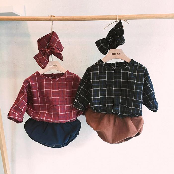 韩国代购婴儿衣服女宝宝格子英伦风公主单层秋装拼接连体衣爬爬服