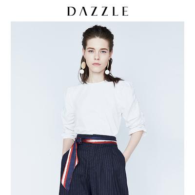 DAZZLE地素 18专柜新款 褶皱松紧肩袖圆领衬衫上衣 2F1D4011B