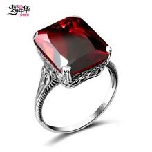 梦年华1989 创意复古925银戒指女方形红色石食指指环大气宴会配饰
