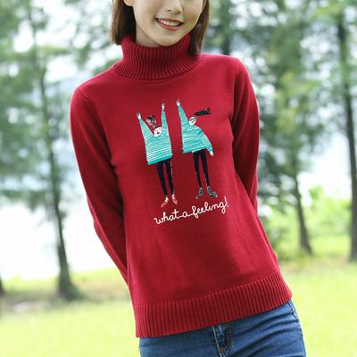 高领毛衣女秋冬新款针织衫秋装打底衫纯棉长袖宽松套头韩版女装潮