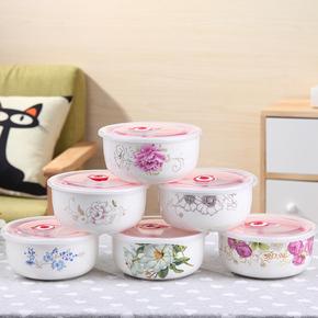 家用餐具便当盒陶瓷带盖保鲜碗大号骨瓷微波炉饭盒大碗学生泡面碗