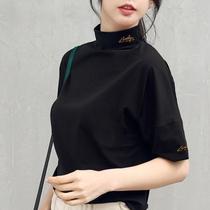 小高领短袖女t恤打底衫宽松丝光棉纯色半袖五分2019新款大码上衣