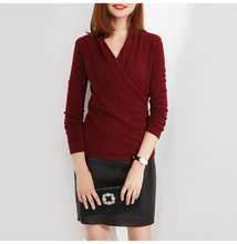 2009 Women's New Spotted Cashmere Sweater Slant V-neck Goat Sweater Crossed Knitted Bottom Shirt Received Waist