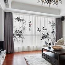 绿色新中式中国风手绘竹子水墨国画竹林客厅卧室书房落地窗帘窗纱