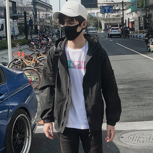 2018新款透气男装夏季外套男士韩版潮流春秋夹克薄款帅气防晒衣服