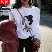 2018春秋韩版bf风复古人物印花长袖T恤女宽松纯棉上衣白色体恤女
