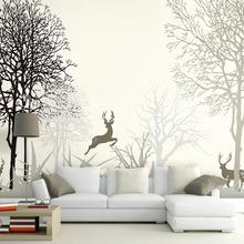 北欧简约手绘麋鹿森林壁纸客厅卧室沙发电视背景墙纸3d立体墙壁画
