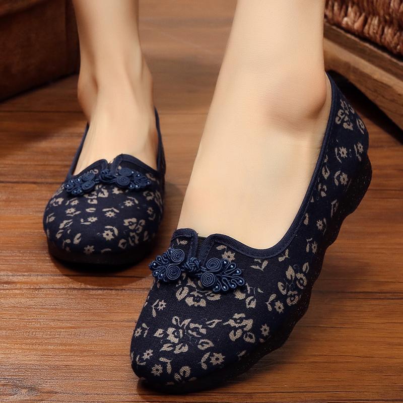 老北京妈妈布鞋女上班中年人帆布鞋春秋款女鞋汉服绣花鞋蓝色单鞋