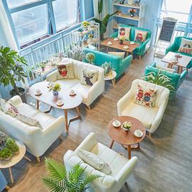 网红店咖啡厅甜品店桌椅组合简约休闲洽谈奶茶店餐饮店咖啡馆沙发图片