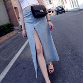 高端大牌牛仔半身裙 春季新款 修饰身材比例 中长裙 欧美女装 高腰