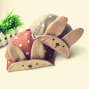 2017儿童春季大兔子长耳朵帽子批发男女宝宝鸭舌帽婴儿遮阳帽子