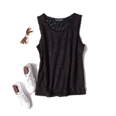 夏季新款蕾丝背心钩花镂空坎肩上衣吊带女 弹力修身无袖打底衫Ic5