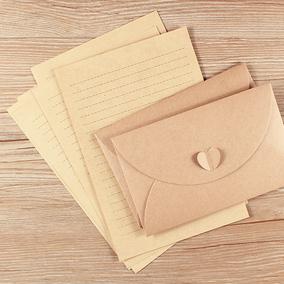 创意中式爱心信封信纸套装学生简约文艺小清新情书复古横线牛皮纸