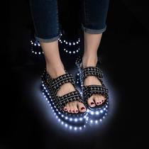 韩版发光女凉鞋夏季平2017灯鞋夏led底鞋学生七彩荧光鞋