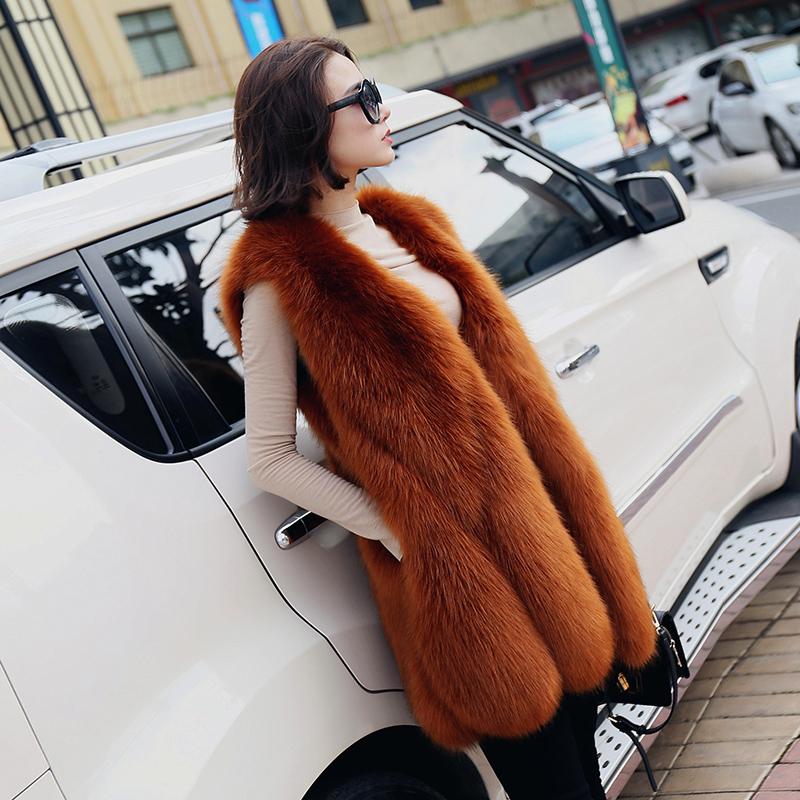 2018 autumn and winter new imitation fox fur grass vest female water drop vest slim