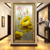 New Chinese style simple modern lotus leaf decorative painting pure hand-painted porch lotus oil painting European corridor nine carp painting