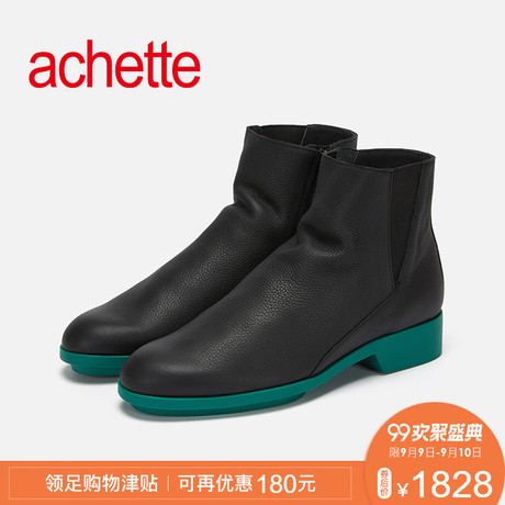 achette雅氏9LT2 2018秋冬款圆头中跟拉链时尚正装时装显瘦女靴商品大图