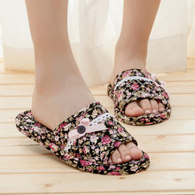 Machine wash silent mute cotton cloth slippers do not hurt the floor tendon fabric indoor autumn and winter home home female