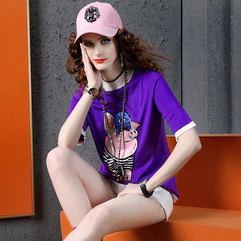 春夏装短袖针织T恤女欧洲站2019新款百搭潮牌小猪亮片紫色体恤女图片