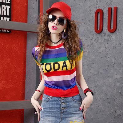 夏季字母短袖T恤女欧洲站2018彩色条纹薄款针织上衣百搭短款体恤