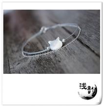 猫咪 双层极细925银手链 包邮 可爱猫咪手绳DIY材料全店满58元