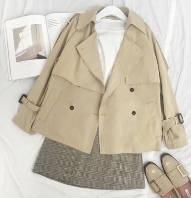 短款风衣女春秋bf原宿韩版学生时尚气质小个子A型显瘦宽松外套