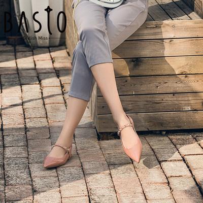 百思图女鞋2018春季专柜同款羊皮尖头平底后空女凉鞋AA701AH8