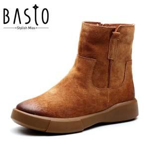 BASTO/百思图2017冬季专柜同款剖层牛皮侧拉链女皮靴短靴YMG04DD7