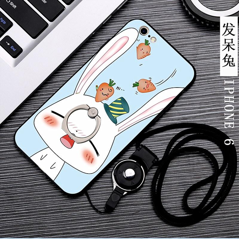 苹果6s手机壳2017新款女款 潮流iPhone6plus带挂绳子韩版卡通可爱