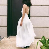 小玉蔡 白色恋人女神镂空露背连衣裙巴厘岛度假沙滩裙吊带V领长裙