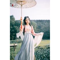 新款刺绣对襟齐腰襦裙改良版成人古风套装清新仙女古装服饰汉服女